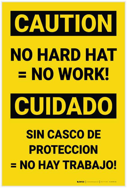 Caution: No Hard Hat No Work Bilingual Spanish - Label