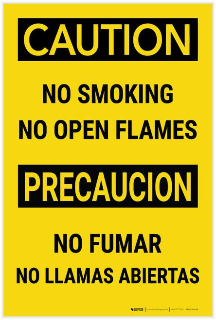 Caution: No Smoking No Open Flames Bilingual Spanish - Label