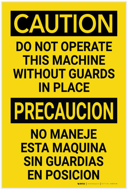 Caution: Do not Operate This Machine Without Guards Bilingual Spanish - Label