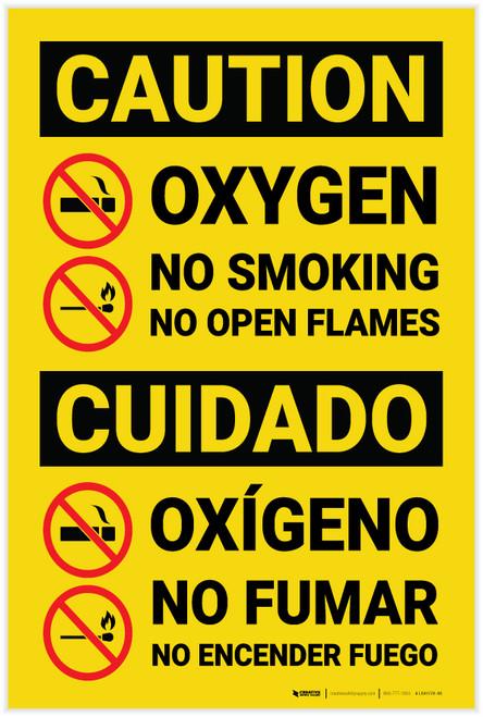 Caution: Oxygen No Smoking No Flames Bilingual Spanish - Label