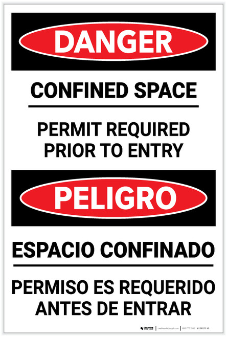 Danger: Confined Space Permid Required Bilingual Spanish - Label