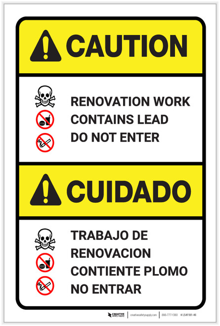 Caution: Renovation Work Contains Lead Do Not Enter Bilingual Spanish - Label