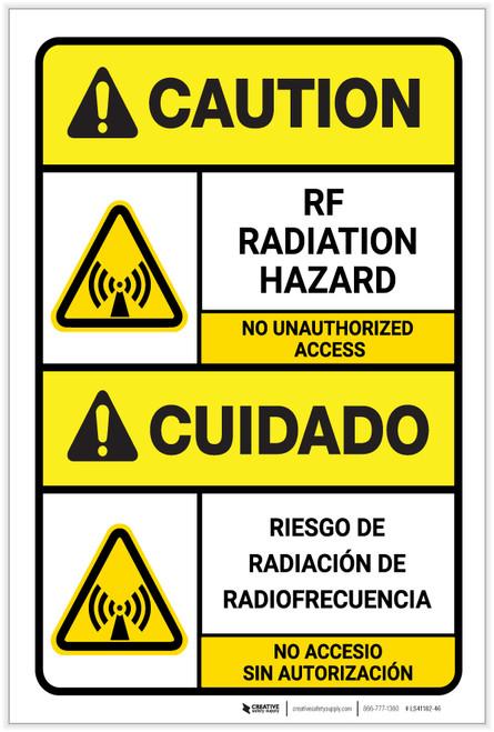 Caution: RF Radiation Hazard ANSI Bilingual Spanish - Label