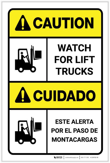 Caution: Watch for Lift Trucks ANSI Bilingual Spanish - Label