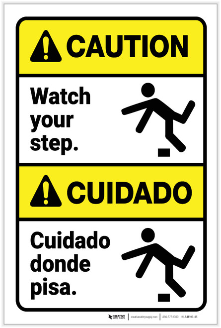 Caution: Watch Your Step With Graphic Bilingual Spanish - Label