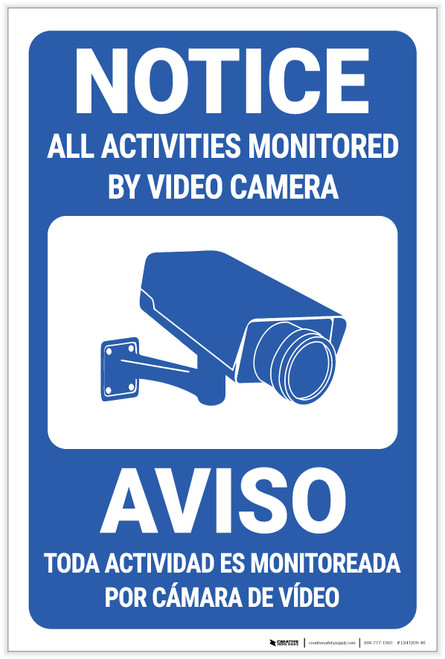 Notice: All Activities Monitored by Video Camera Bilingual Spanish - Label