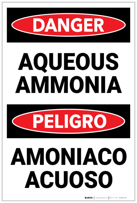 Danger: Aqueous Ammonia Bilingual Spanish - Label