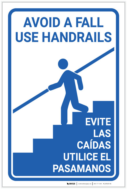 Avoid Fall Handrails Bilingual Spanish - Label