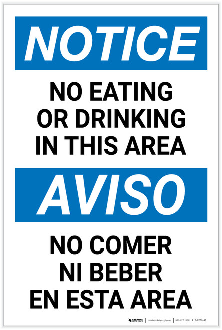 Notice: No Eating or Drinking In This Area Bilingual Spanish - Label