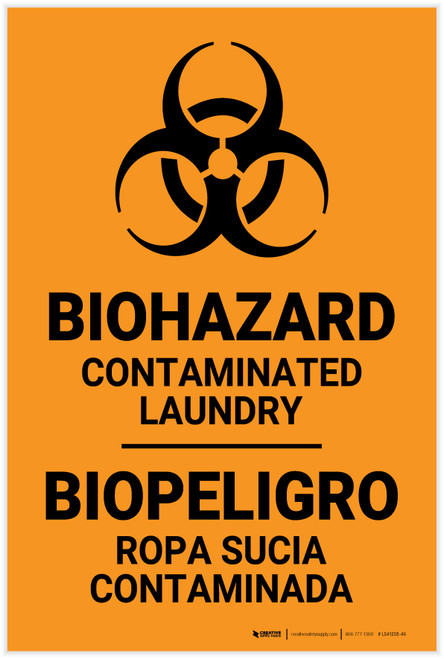 Biohazard: Contaminated Laundry Bilingual Spanish - Label