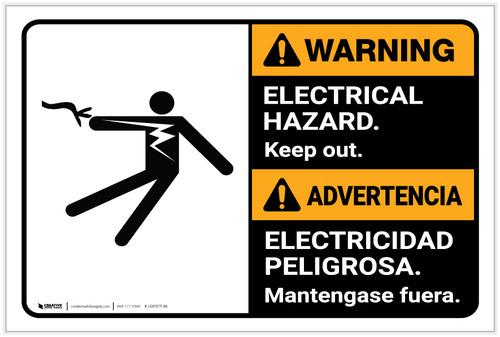 Warning: Electrical Hazard Keep Out Bilingual Spanish ANSI - Label