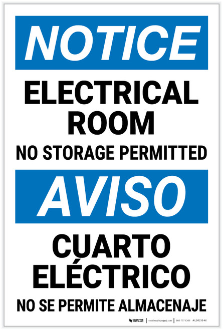 Notice: Electrical Room No Storage Bilingual Spanish - Label