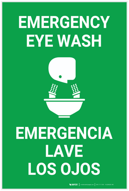 Emergency Eye Wash Bilingual Spanish - Label