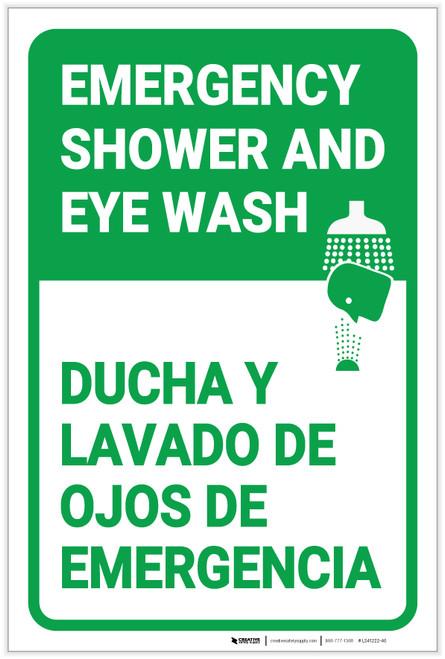 Emergency Shower Eye Wash Portrait Bilingual Spanish - Label