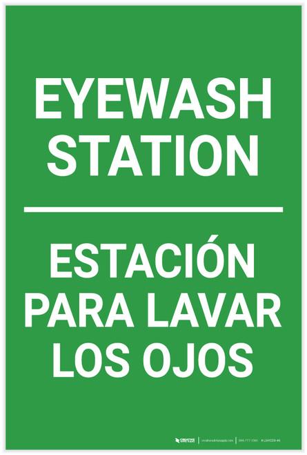 Eyewash Station Portrait No Icon Bilingual Spanish - Label