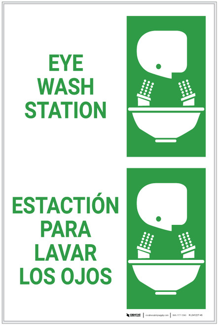 Eyewash Station Bilingual Spanish - Label