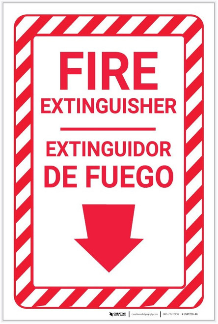 Fire Extinguisher Arrow Down Bilingual Spanish - Label