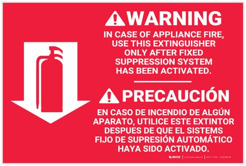 Fire Extinguisher Instruction Warning Bilingual Spanish - Label