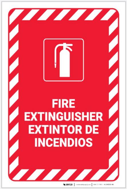 Fire Extinguisher Bilingual Spanish - Label