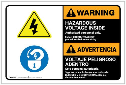 Warning: Hazardous Voltage Follow Lockout Procedures Bilingual Spanish - Label