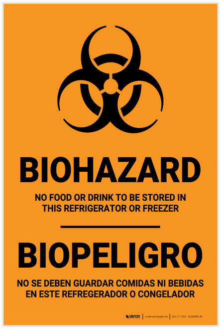 Biohazard: No Food Stored In Refrigerator Bilingual Spanish - Label