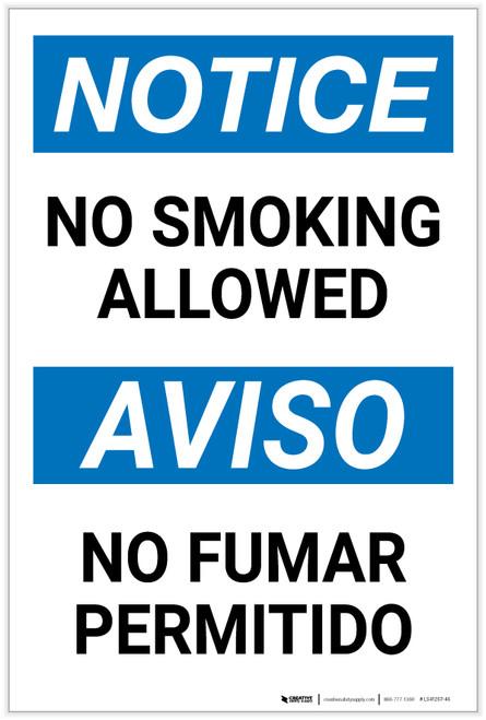 Notice: No Smoking Allowed Bilingual Spanish - Label