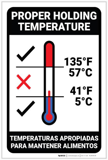 Proper Holding Temperature Bilingual Spanish - Label