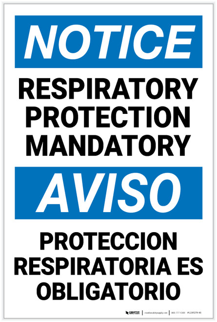 Notice: Respiratory Protection Mandatory Bilingual Spanish - Label
