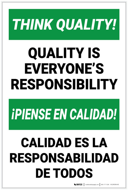 Think Quality: Quality is Everyone's Responsibility Bilingual Spanish - Label