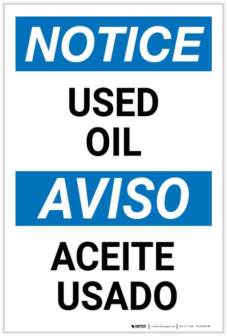 Notice: Used Oil Bilingual Spanish - Label