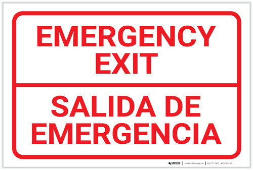 Emergency Exit Bilingual Spanish - Label