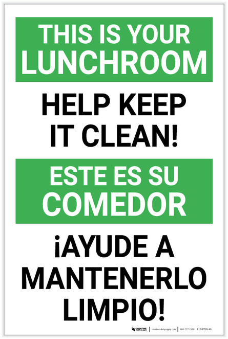 This is Your Lunchroom - Help Keep it Clean Bilingual Spanish - Label