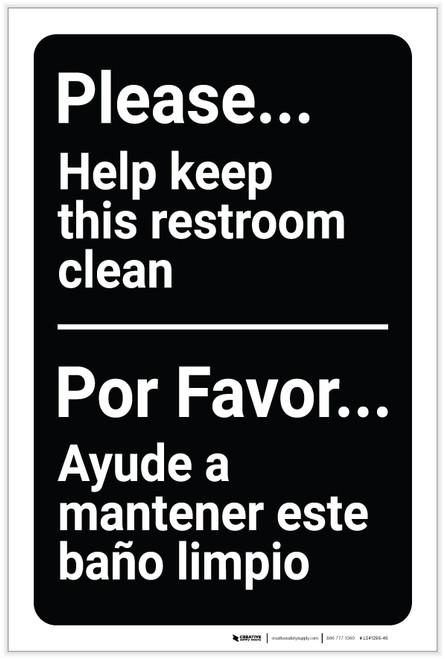 Please Help Keep This Restroom Clean Bilingual Spanish - Label