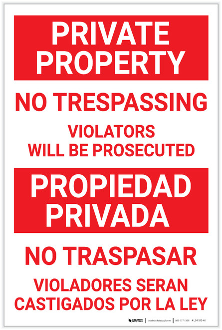 Bilingual Spanish Private Property No Trespassing violators - Label