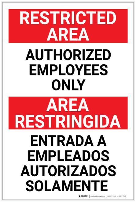 Restricted Area: Authorized Employees Only Bilingual Spanish - Label