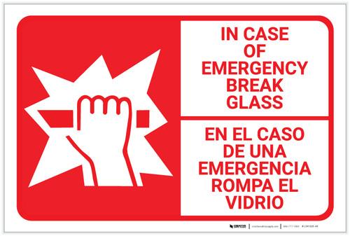 Bilingual Spanish In Case Of Emergency Break Glass - Label