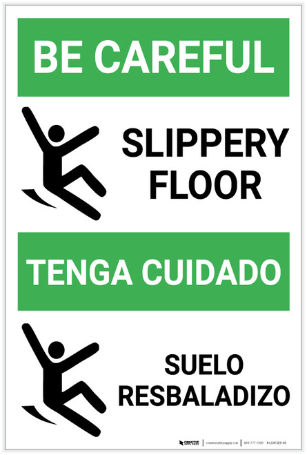 Be Careful Slippery Floor Bilingual Spanish with Icon Portrait - Label