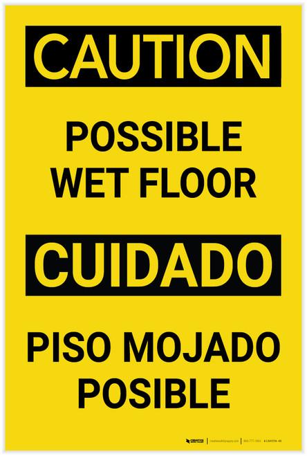Caution Possible Wet Floor Bilingual Spanish Portrait - Label