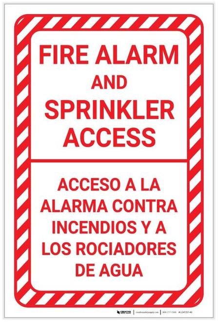 Fire Alarm And Sprinkler Access Bilingual Spanish Portrait - Label