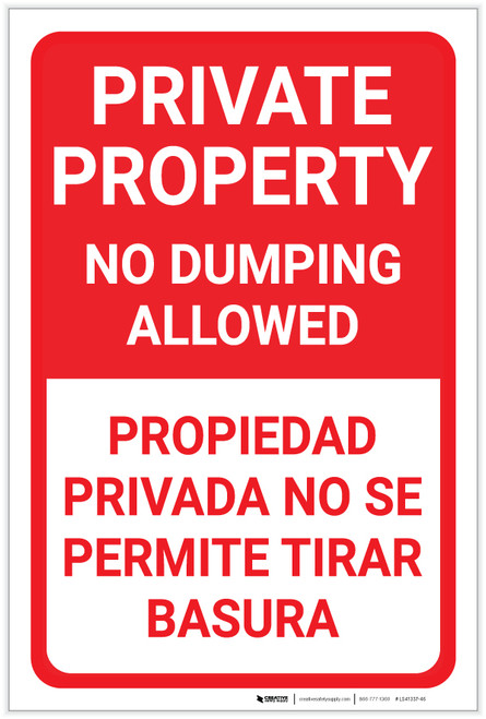 Private Property No Dumping Allowed Bilingual Spanish Portrait - Label