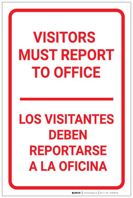 Visitors Must Report To Office Bilingual Spanish Portrait - Label