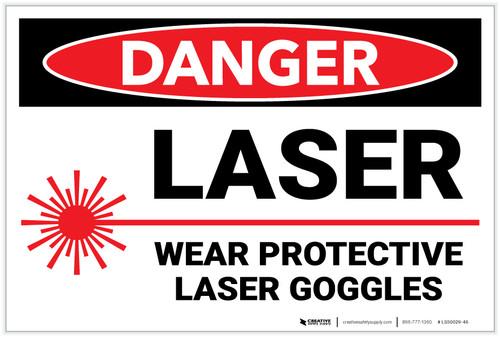 Danger: PPE Laser Wear Protective Goggles - Label