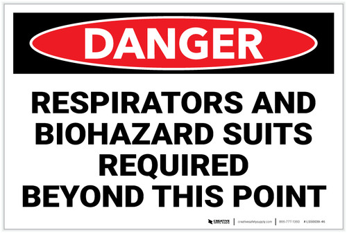 Danger: PPE Respirators And Biohazard Suits Required - Label