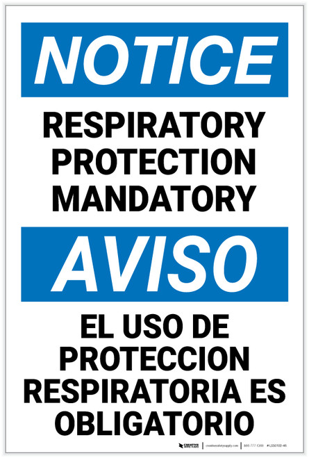 Notice: Respiratory Protection Mandatory Bilingual - Label