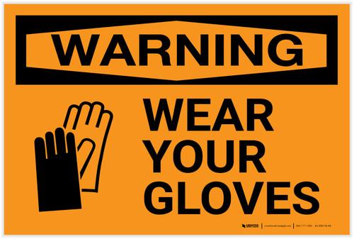 Warning: PPE Wear Gloves - Label