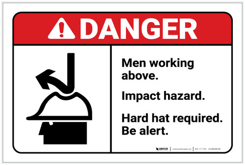 Danger: Men Working Above Hard Hat Required With Graphic - Label