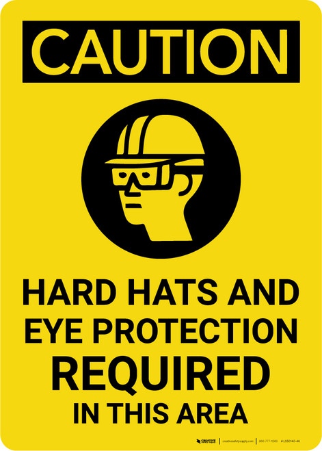 Caution: Hard Hat Eye Protection Required Vertical With Graphic - Label
