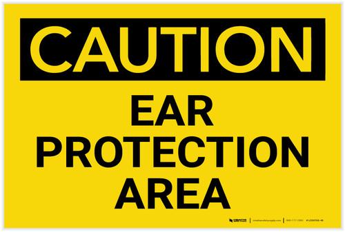 Caution: PPE Ear Protection Area - Label