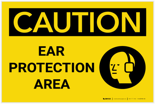 Caution: PPE Ear Protection Area With Graphic - Label