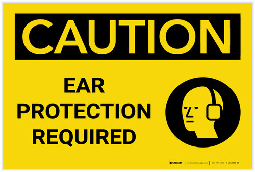 Caution: PPE Ear Protection Required with Graphic - Label